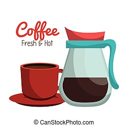 coffee pot glass cup graphic