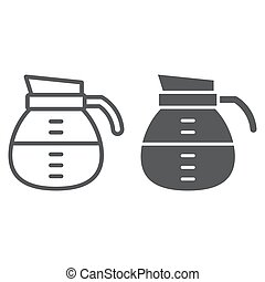 Coffee pot line and glyph icon, coffee and cafe, drink sign vector graphics, a linear pattern on a white background, eps 10.