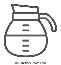 Coffee pot line icon, coffee and cafe, drink sign vector graphics, a linear pattern on a white background, eps 10.