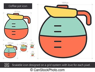 Coffee pot line icon.