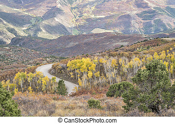 Coffee Pot road with golden aspen