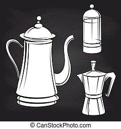 Coffee pot stickers on blackboard background
