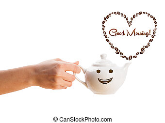 Coffee pot with coffee beans shaped heart with good morning sign, isolated on white