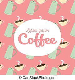 coffee pots and cups background vector design
