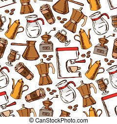 Coffee pots and cups seamless pattern