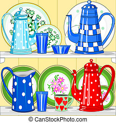 Coffee pots and dishes - Illustration of colorful dishes,...