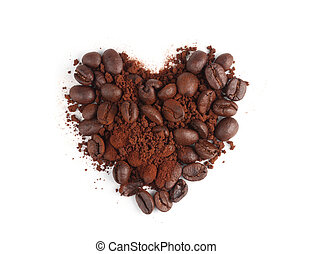 Coffee powder and beans in shape of heart