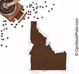 Coffee powder in the shape of Idaho and a coffee...