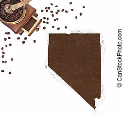 Coffee powder in the shape of Nevada and a decorative coffee mill.(series)