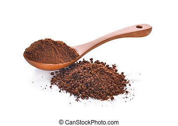 coffee powder in wooden spoon isolated on white background