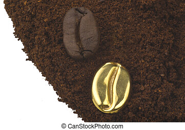 Coffee powder with a gold been