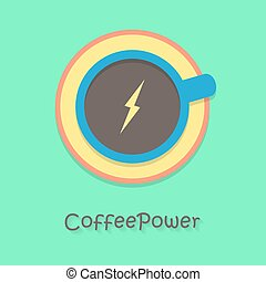coffee power with blue cup. concept of cheerfulness, traditional breakfast, recharge your batteries and beginning of the day. flat style trendy modern logo design vector illustration