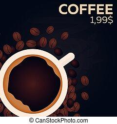 Coffee price. Fast food Restauran menu. Vector illustration.