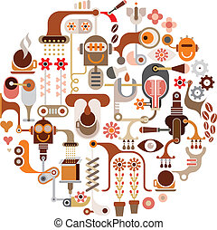 Coffee processing - vector illustra - Coffee Making - round...