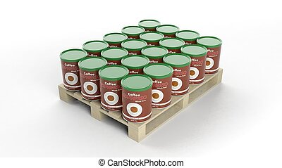 Coffee product mockups set on wooden pallet, isolated on white background.