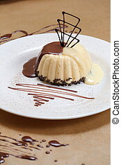 coffee pudding on a plate