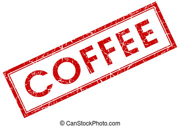 coffee red square stamp isolated on white background