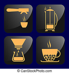 Coffee related icons - Icons with coffee - plunger, espresso...