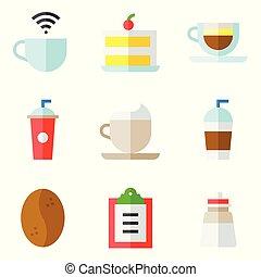 Coffee related vector icon set 2, flat stye