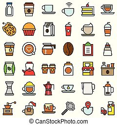 Coffee related vector icon set, filled stye editable outline