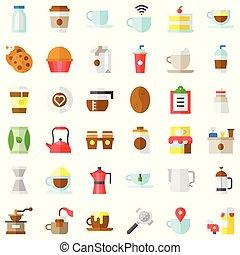Coffee related vector icon set, flat stye