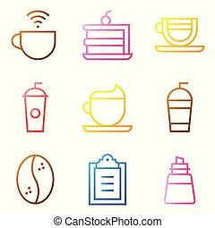 Coffee related vector icon set, gradient stye