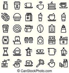 Coffee related vector icon set, line stye