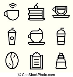 Coffee related vector icon set, line style
