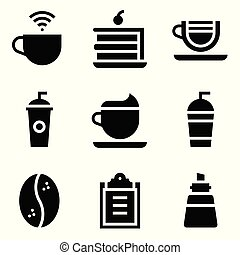 Coffee related vector icon set, solid stye