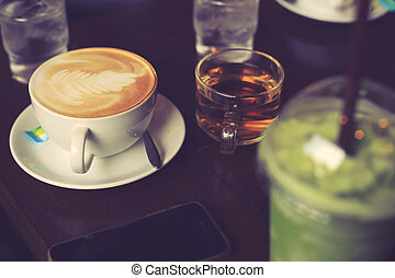 Coffee relax time in cafe vintage color.