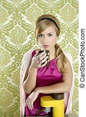 coffee retro woman vintage cup kitchen