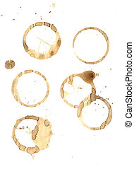 Coffee rings and splatter - Smudged coffee rings and spills ...