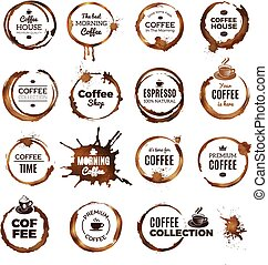 Coffee rings badges. Labels with dirty circles from tea or coffee cup restaurant logo template