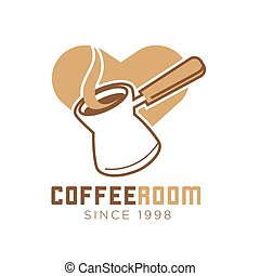 Coffee room cafe vector icon template of heart and maker -...