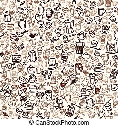 coffee seamless background - doodle coffee and tea seamless...