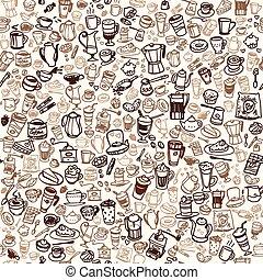 coffee seamless background - doodle coffee and tea seamless...