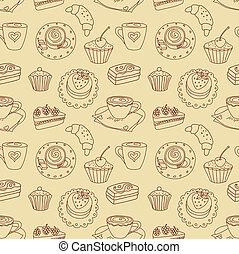 Coffee seamless line pattern.
