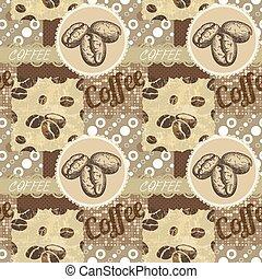 coffee., -, seamless, motieven, vector, tiling