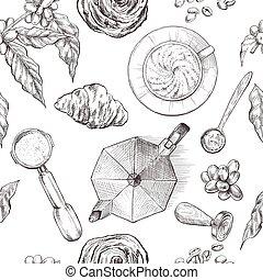 Coffee, seamless pattern, vintage hand drawn