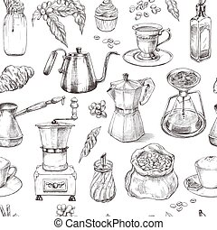 Coffee, seamless pattern, vintage hand drawn