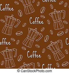 Coffee seamless pattern with coffee maker. Cafe background, texture, paper. Vector illustration.