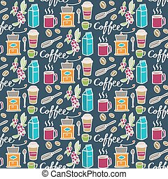 Coffee. Seamless pattern with doodle coffee elements. Hand-drawn background. Vector illustration.