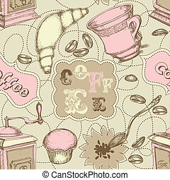 Coffee seamless pattern with labels for text, mugs, grinder, spoon and cakes
