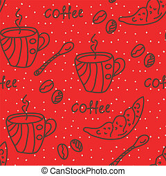 Coffee seamless wallpaper in red colors
