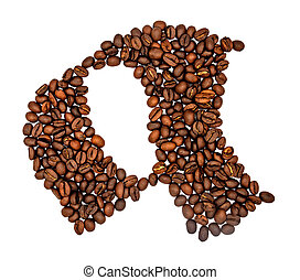 English alphabet of Coffee seeds isolated on white background, Letter A symbol made from Coffee seeds.
