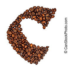 English alphabet of Coffee seeds isolated on white background, Letter C symbol made from Coffee seeds.