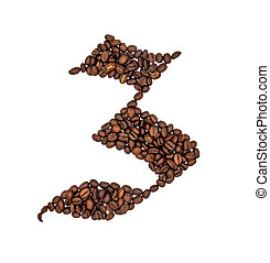 English alphabet of Coffee seeds isolated on white background, Letter Z symbol made from Coffee seeds.