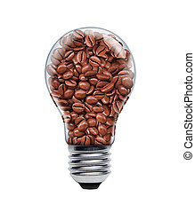 A light bulb filled with coffee seeds.