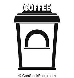 Coffee selling icon, simple style.