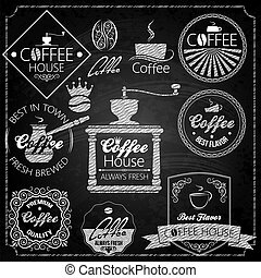coffee set elements chalkboard